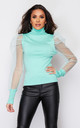 Sofia Polo Neck Jumper Mint by Girl In Mind