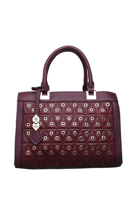 GOLD EYELET BOWLING BAG IN RED by BESSIE LONDON