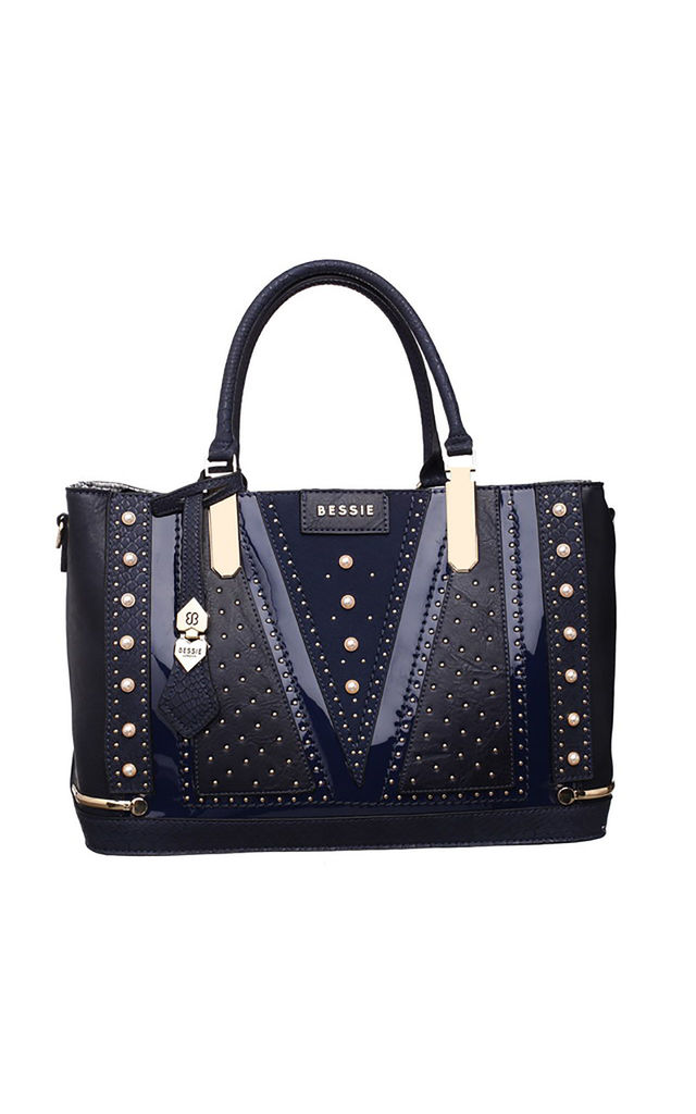 LARGE PEARL STUDDED STRUCTURED TOTE BAG IN BLUE by BESSIE LONDON