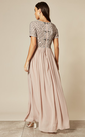 Bridesmaid Mink Embellished Maxi Dress with Cap Sleeves by ANGELEYE