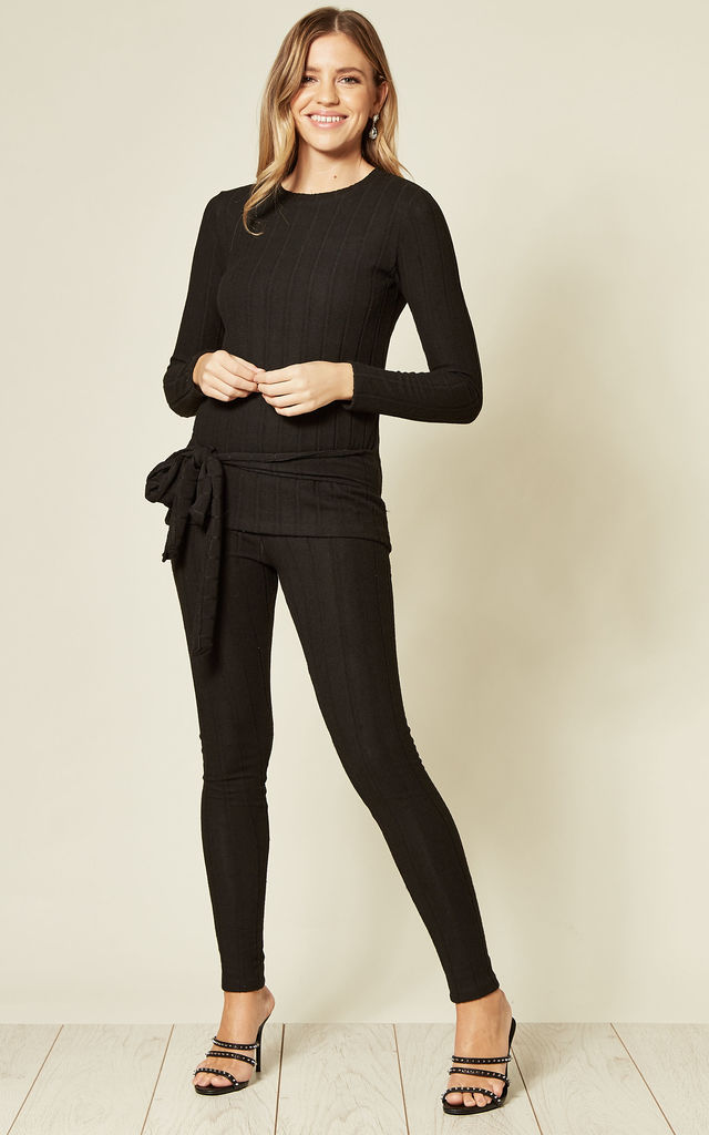 Ribbed Knit Co-ord in Black  | Top & Trousers by EDGE STREET