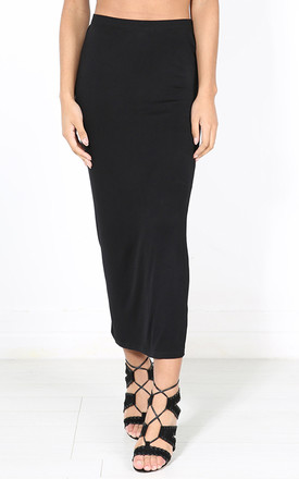 High Waisted Jersey Maxi Skirt In Black by Oops Fashion