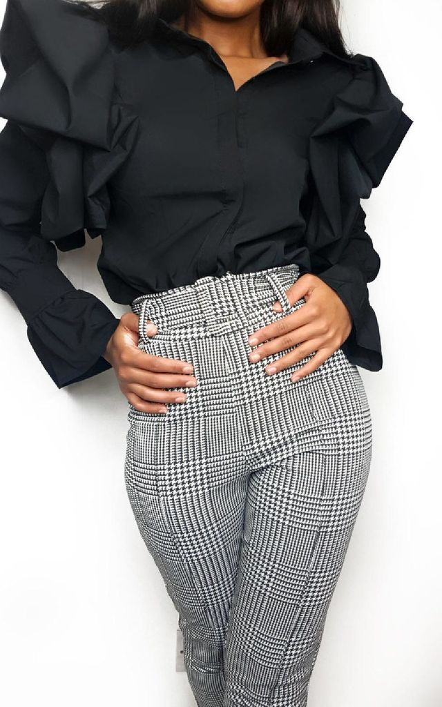 Sanah Paperbag Tailored Trousers in Grey Check by IKRUSH