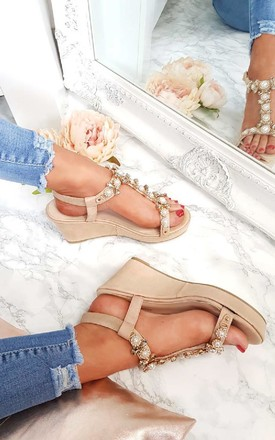 Charlotte Embellished T-Bar Wedges in Neutral by IKRUSH