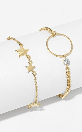 Bracelet Set Star and Circle in Gold by HAUS OF DECK