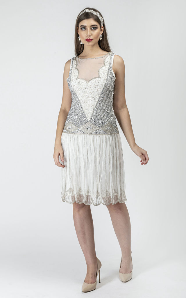Elaina Vintage Inspired Drop Waist Flapper Dress in Off White by Gatsbylady London