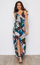 Mia Wrap Maxi Dress White Feather Print by Girl In Mind