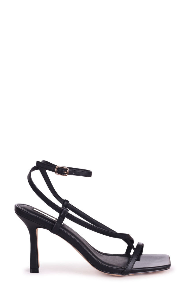 Carnaby Black Nappa Strappy Square Toe Heel With Toe Post by Linzi