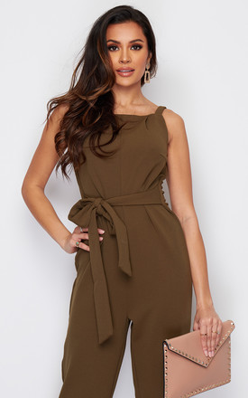 Sofia Square Neck Tie Front Jumpsuit Khaki by Girl In Mind