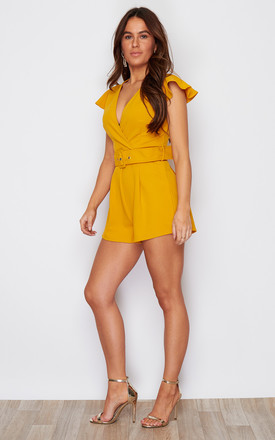 Livvy V Neck Belt Playsuit Yellow by Girl In Mind
