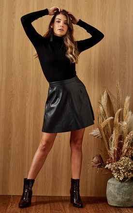 Faux Leather Mini Skater Skirt in Black by VILA