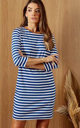 3/4 Sleeve Mini Dress in Blue And White Stripe by VILA