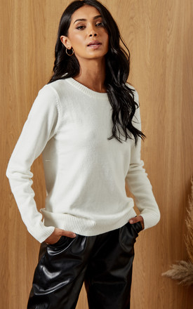 Knitted Top With Round Neck In White by VILA Product photo