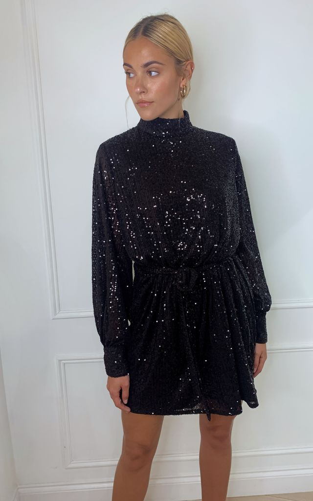 Fifi Sequin Dress - Black by Pretty Lavish