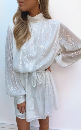 Fifi Sequin Dress   White by Pretty Lavish Product photo