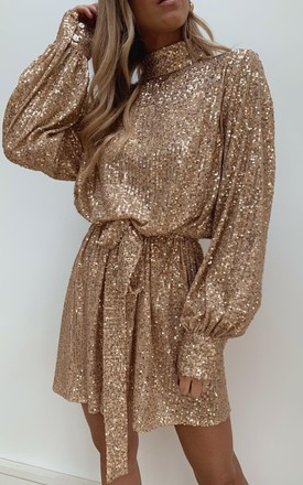 Fifi Sequin Dress   Gold by Pretty Lavish Product photo