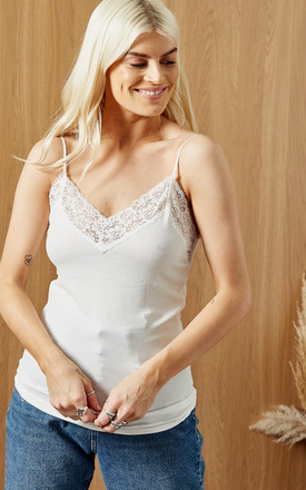 Cami Top With Lace Detail in White by Selected Femme