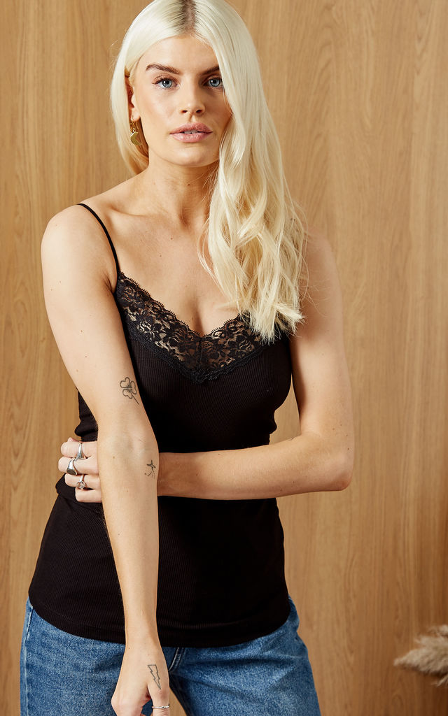 Cami Top With Lace Detail in Black by Selected Femme