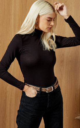 High Neck Long Sleeve Fitted Top In Black by Selected Femme Product photo