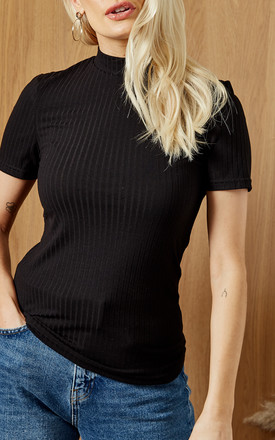 High Neck Ribbed Short Sleeve Top In Black by Pieces Product photo