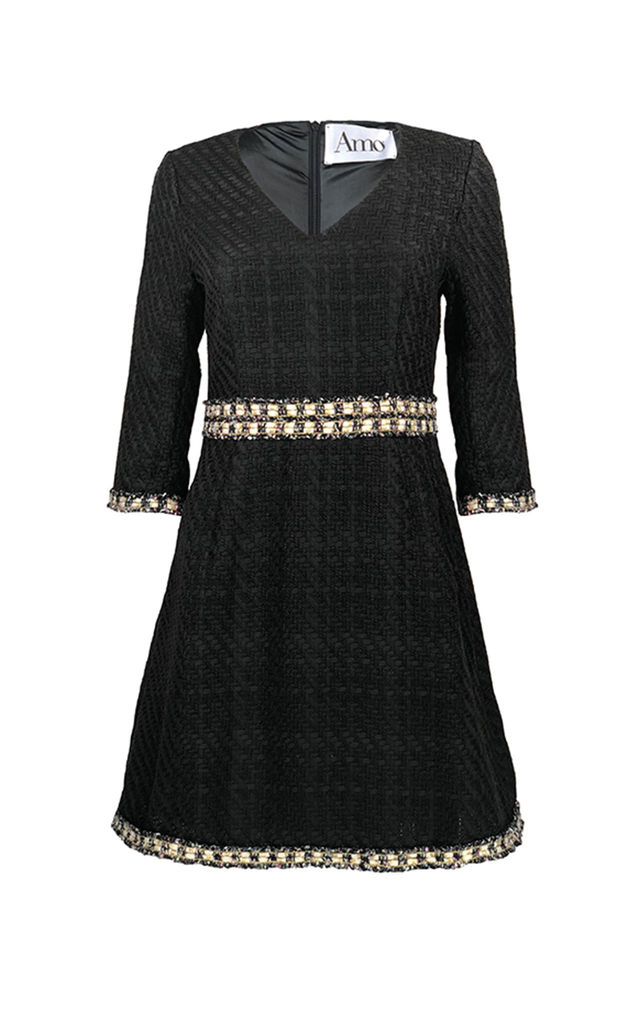 REGAL BLACK TWEED MINI DRESS WITH 3/4 SLEEVES by AMO