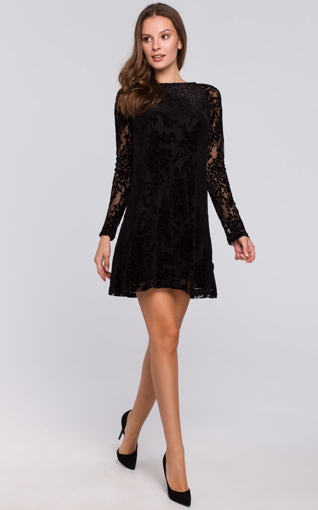 Long Sleeve Lace Mini Dress in Black by Dursi