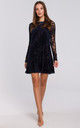 Long Sleeve Lace Mini Dress in Navy Blue by Dursi