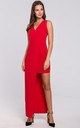 Red Sleeveless Asymmetric Maxi Dress by Dursi