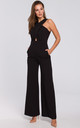Sleeveless Jumpsuit with Cross Front in Black by Dursi