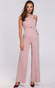 Sleeveless Jumpsuit with Cross Front in Pink by Dursi