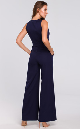 Sleeveless Jumpsuit with Cross Front in Navy by Dursi