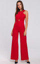 Sleeveless Jumpsuit with Cross Front in Red by Dursi