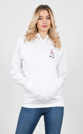 White Lucy Sparks Embroidered Logo Hoodie by Lucy Sparks
