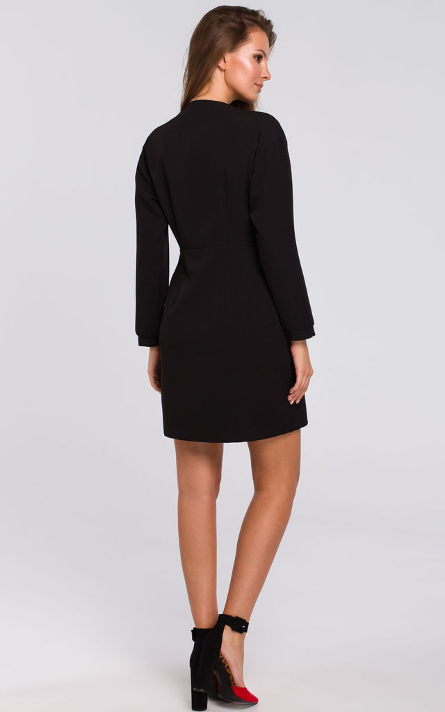 Black Button Wrap Mini Dress with Long Sleeves by Dursi