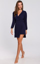 Navy Button Wrap Mini Dress with Long Sleeves by Dursi