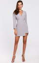 Grey Button Wrap Mini Dress with Long Sleeves by Dursi