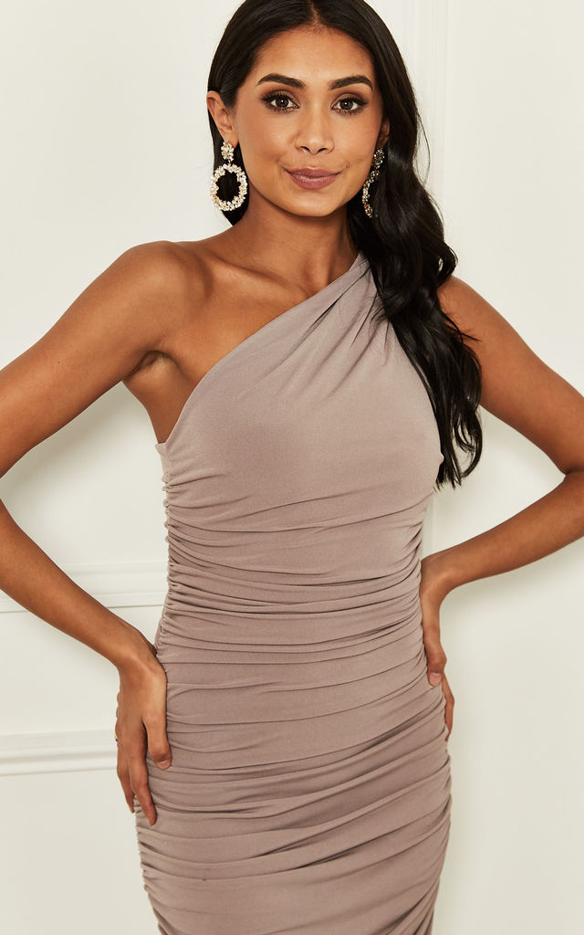 EXCLUSIVE Angelina mink one shoulder maxi bridesmaid dress by Revie London
