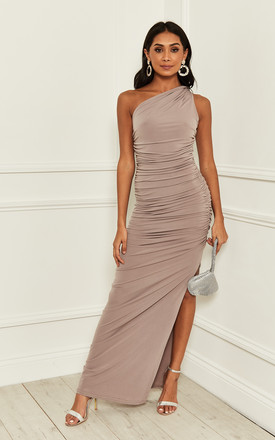 Exclusive Angelina Mink One Shoulder Maxi Bridesmaid Dress by Revie London Product photo