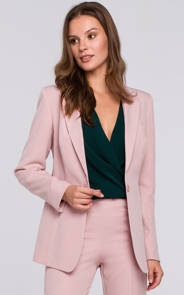 Single Button Blazer in Pink by Dursi
