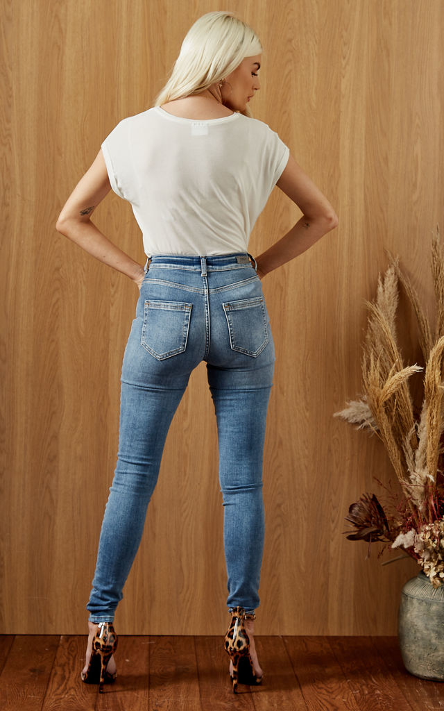 Button Front Skinny Jeans in Medium Blue by ONLY