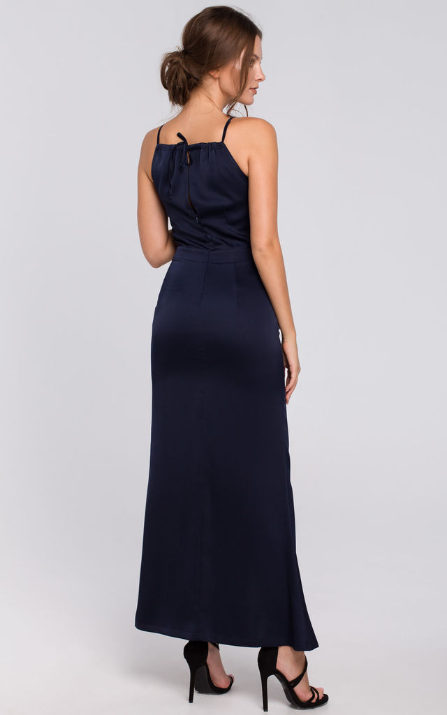 Strappy Maxi Dress with Split Leg in Navy Blue by Dursi