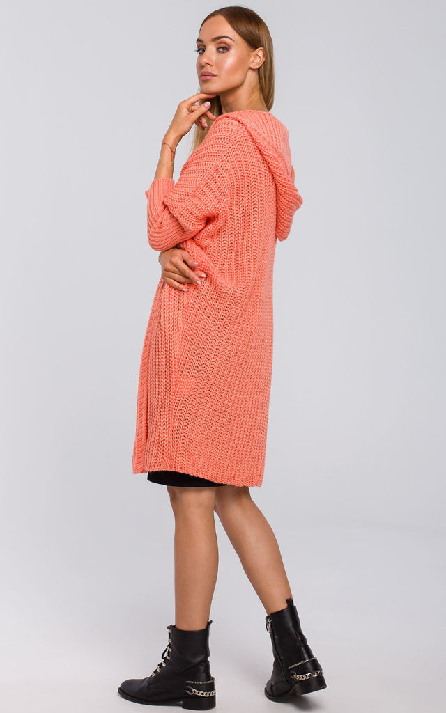 Oversized Hooded Cardigan in Pink by MOE