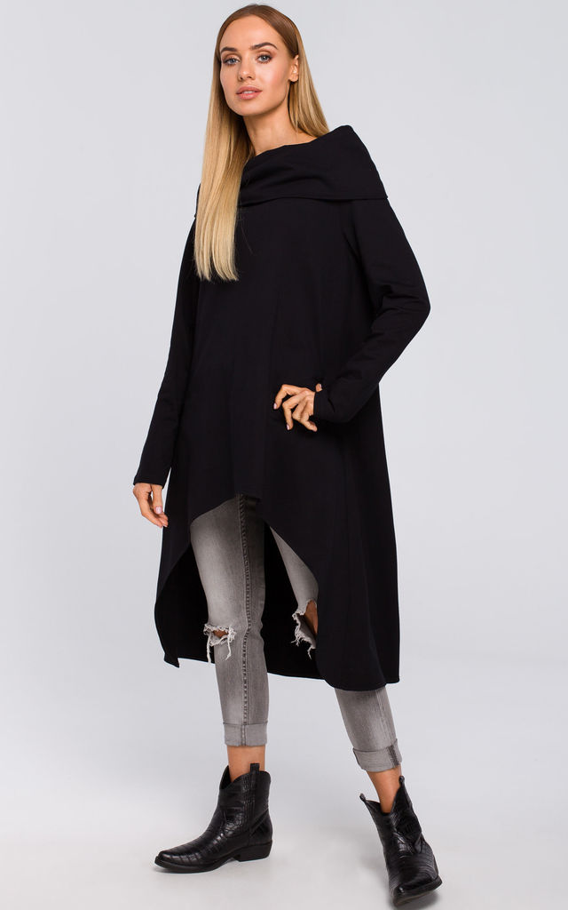 Black Asymmetric Oversized Sweatshirt with Wide Collar by MOE