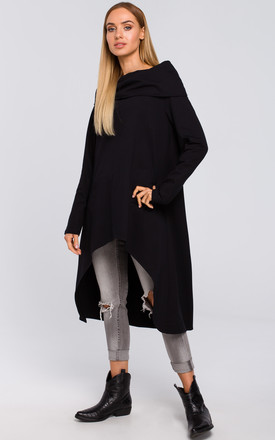 Black Asymmetric Oversized Sweatshirt With Wide Collar by MOE Product photo