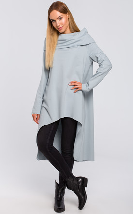 Grey Asymmetric Oversized Sweatshirt with Wide Neck by MOE