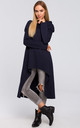 Navy Blue Asymmetric Oversized Sweatshirt with Wide Neck by MOE