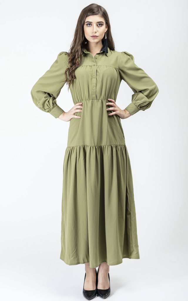 Gonca Long Sleeve Maxi Shirt Dress in Olive by Gatsbylady London