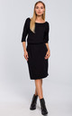 Midi Dress with Chest Pocket in Black by MOE