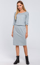 Midi Dress with Chest Pocket in Grey by MOE