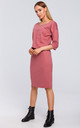 Midi Dress with Chest Pocket in Pink by MOE